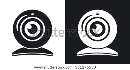 Vector webcam icon. Two-tone version on black and white background - stock vector