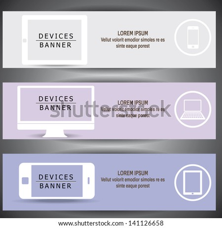 vector website banners, with modern devices smartphone, tablet pc, laptop. - stock vector