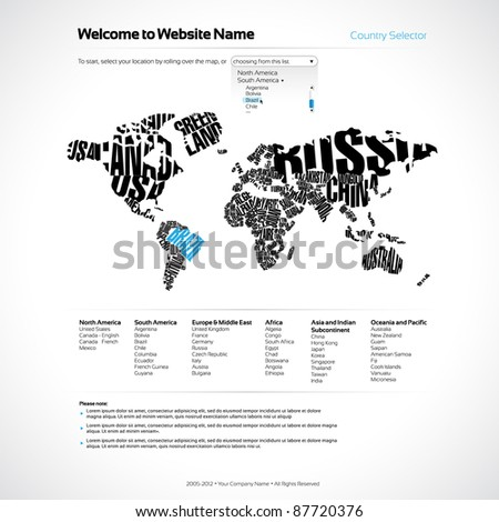 Vector Website Design Template with World Map in Typography - stock vector