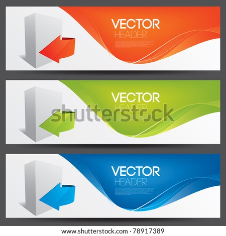 vector website headers for software products - stock vector