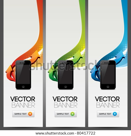 vector website headers, smart phone promotion banners - stock vector