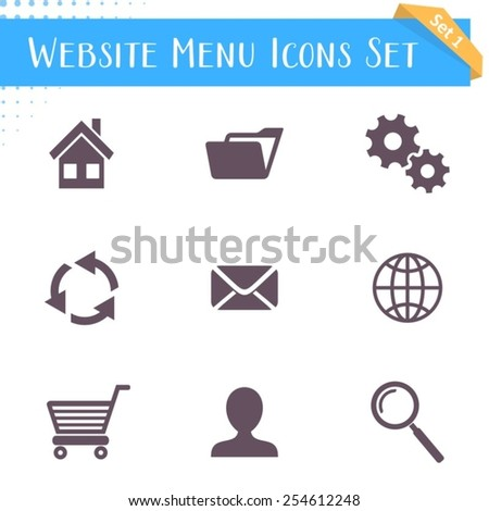 Vector website menu icons isolated on white background