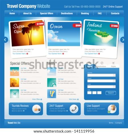 Vector Website Template 8 Tourism Stock Vector 141119956 ...