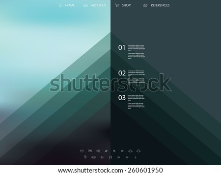 Vector website template with graphic user interface also for mobile. Blurred background gradient mesh. Line icons. Ghost buttons. Minimalistic style. One page. Introduction. Eps10 vector illustration. - stock vector
