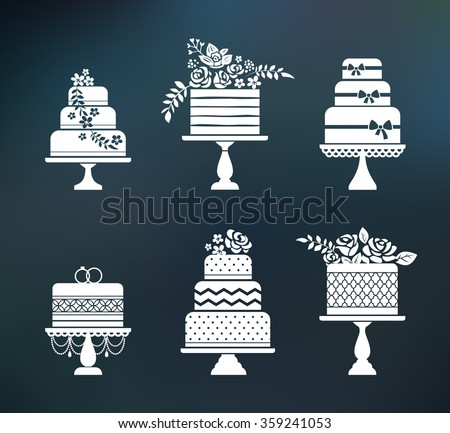Vector wedding, birthday flower cakes set. Sweet bakery