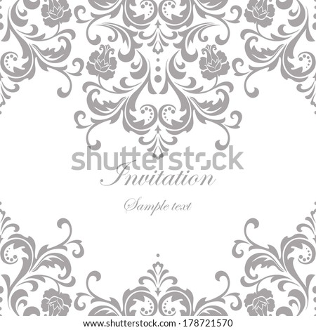 Vector wedding card or invitation with floral ornament background. - stock vector