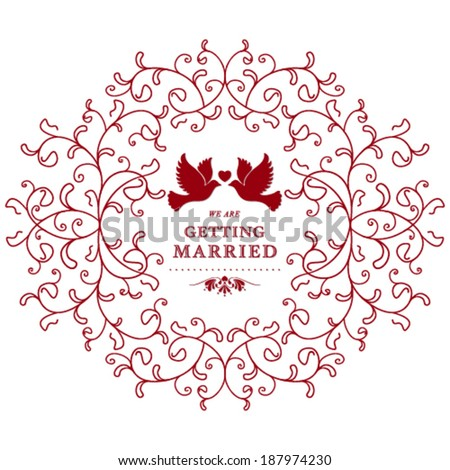 Vector wedding card or invitation with floral ornament. Perfect as invitation or announcement. - stock vector