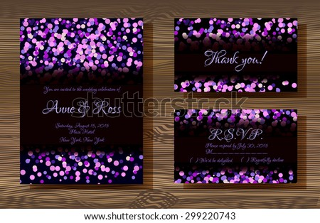 Vector wedding cards template violet glitter stock vector vector wedding cards template with violet glitter texture decoration on wood texture background wedding invitation stopboris Images