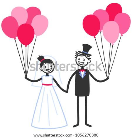vector wedding illustration happy stick figures stock vector