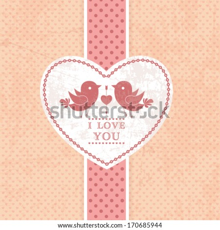 Vector wedding invitation card, scrapbook background. I Love You. Perfect as invitation or announcement. - stock vector