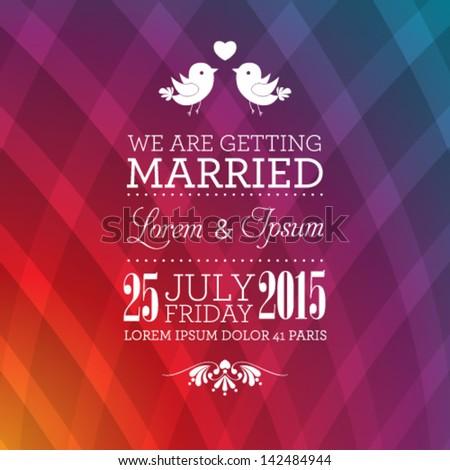 Vector wedding invitation card template. Perfect as invitation or announcement. - stock vector