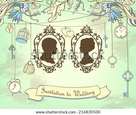 Vector Wedding Invitation Card. Vintage card - stock vector