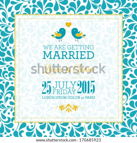 Vector wedding invitation card with floral ornament background. I Love You. Perfect as invitation or announcement.