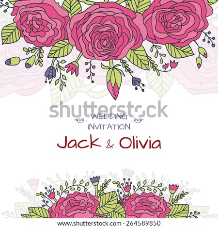 Vector wedding invitation card with vintage baroque rococo roses, ornate floral background. Save the date ornament - stock vector