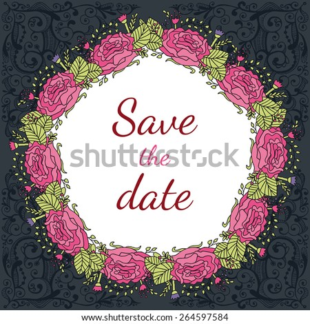 Vector wedding invitation card with vintage baroque rococo roses, ornate floral dark background. Save the date ornament - stock vector