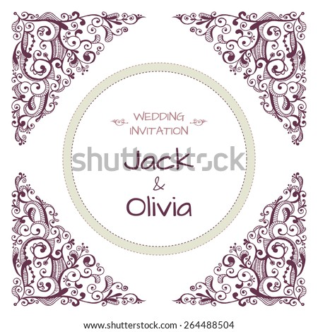 Vector wedding invitation card with vintage baroque rococo swirls, ornate damask background. Save the date ornament - stock vector