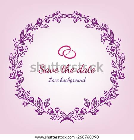 Vector wedding invitation card with vintage baroque rococo wreath, ornate background. Save the date pink ornament - stock vector