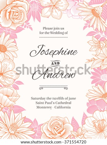 Vector wedding invitation template with a frame composed of detailed pink and orange flowers illustrations