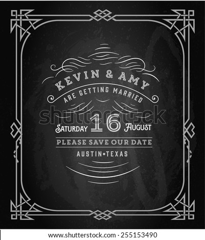 Vector. Wedding invitation vintage card. Freehand drawing on the chalkboard - stock vector
