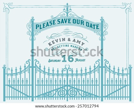 Vector. Wedding invitation vintage card with forged metal elements separated by layers - stock vector