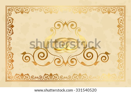 Vector wedding invitation with gold rings - stock vector