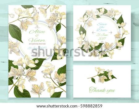 Vector wedding invitations set jasmine flowers stock vector royalty vector wedding invitations set with jasmine flowers on white background romantic tender floral design for stopboris Images
