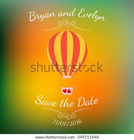 Vector wedding pink balloon with red hearts over abstract colorful blurred vector background. Element for wedding designs, website, logo, and other. Greeting card template, Save the Date. - stock vector