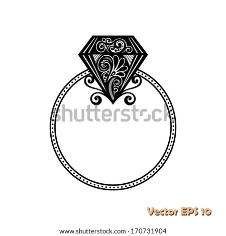 Vector Wedding Ring with Diamond. Will you marry me ring. - stock vector