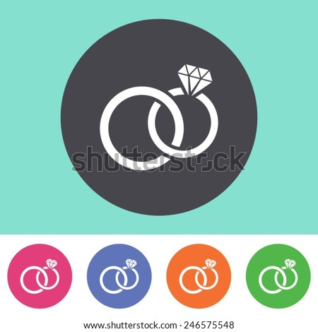 Vector wedding rings icon on round colorful buttons - stock vector
