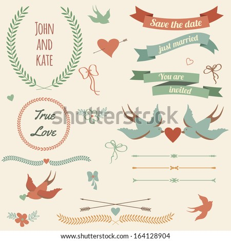 Vector wedding set with birds, hearts, arrows, ribbons, wreaths, flowers, bows, laurel. - stock vector