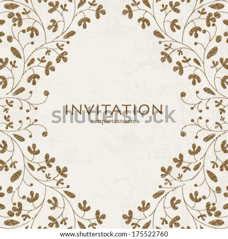 Vector wedding styled card with floral ornament design. Perfect as invitation or announcement. - stock vector