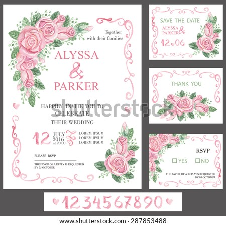 Vector Wedding  watercolor invitation cards set.Pink flowers,swirls elements and calligraphic numbers letters. Cute retro collection with pink roses bouquet, green branches.Save date,RSVP.Vintage - stock vector