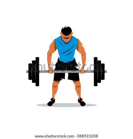 Vector Weightlifting Cartoon Illustration. The athlete lifts a heavy barbell. Branding Identity Corporate Logo isolated on a white background - stock vector