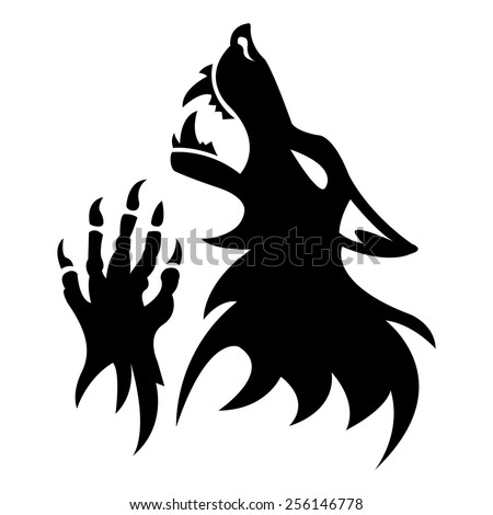 Vector werewolf stencil. Black tattoo.   Fantesy graphic eps 10. - stock vector