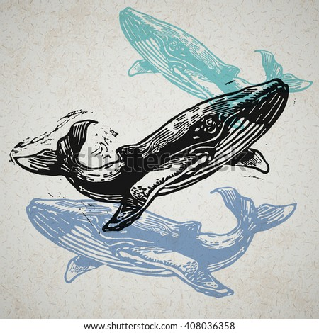 Vector Whale animals in abstract composition. Linocut whales in different colors on the old paper - stock vector