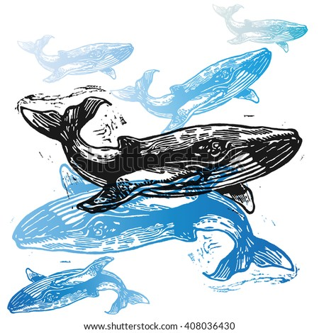 Vector Whale animals in abstract composition. Linocut whales in different colors on the white background - stock vector