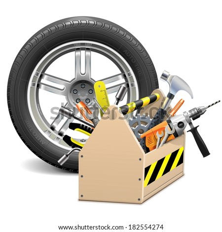 Vector Wheel with Toolbox - stock vector