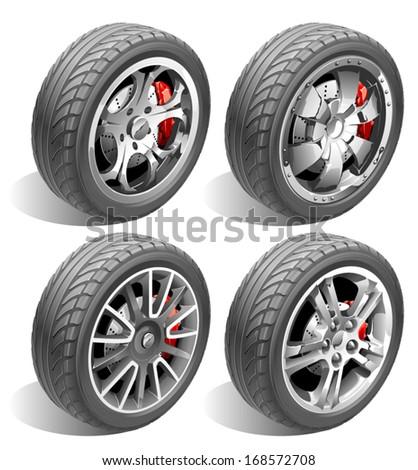 Vector Wheels - stock vector