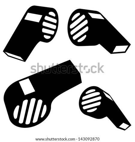 Vector whistle silhouettes on white background - stock vector