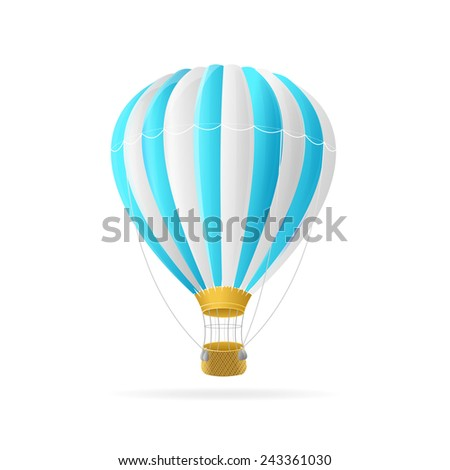 Vector white and blue hot air ballon isolated on white background - stock vector