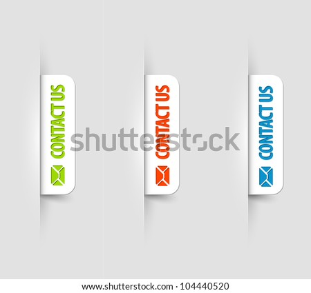 Vector white and color contact us Labels / Tags on the (web) page - stock vector