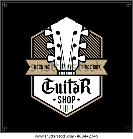 Vector White And Gold Guitar Shop Logo Music Icon For Audio Store Branding