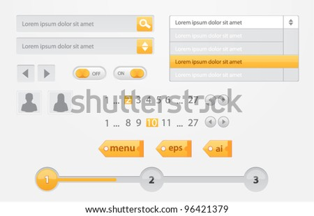 Vector white and yellow web elements: buttons, tags, pagination, switches, steps