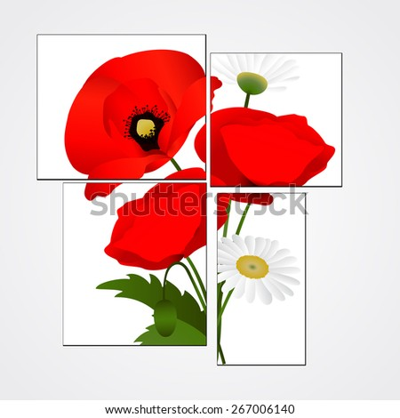 Vector white background with chamomile and red flowers poppies - stock vector