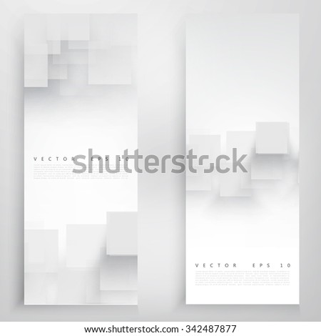 Vector white banner squares. Abstract grey background.