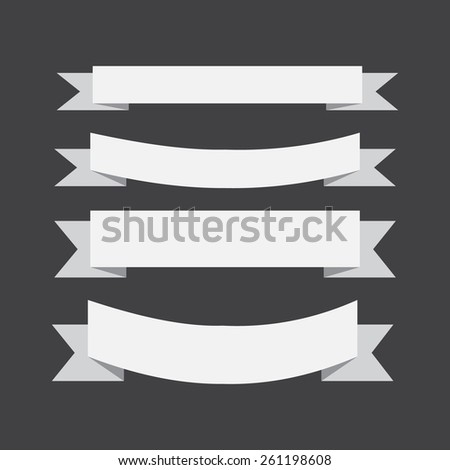 vector white banners ribbons on a black background. - stock vector