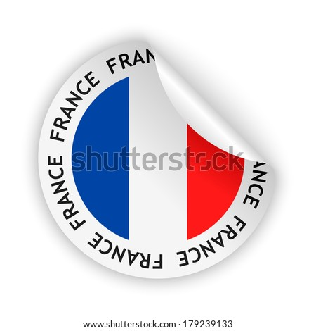 vector white bent sticker with flag of the france