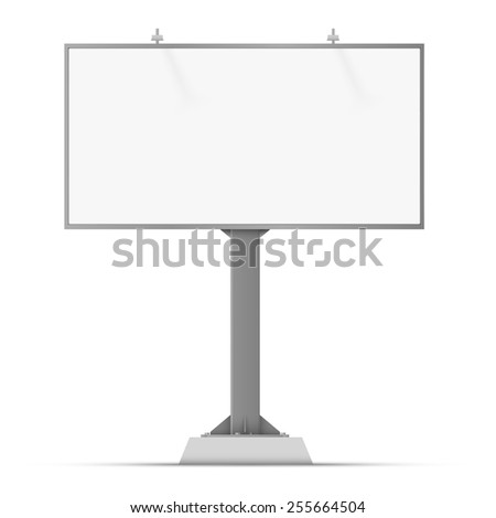 Vector white billboard screen, 6x3 large banner template in front projection isolated on white background, for your advertisement and design.  - stock vector