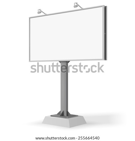 Vector white billboard screen, 6x3 large banner template in isometry 3d-like projection isolated on white background, for your advertisement and design.  - stock vector