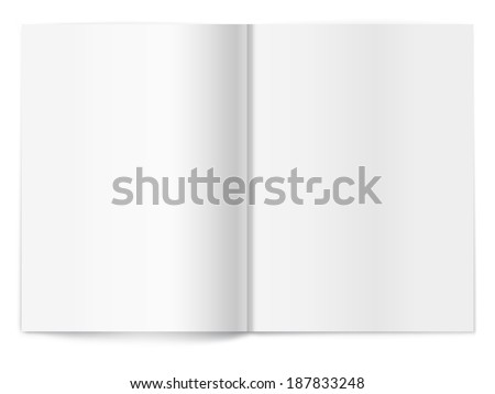 Vector white blank magazine spread on white background. Template for your design - stock vector